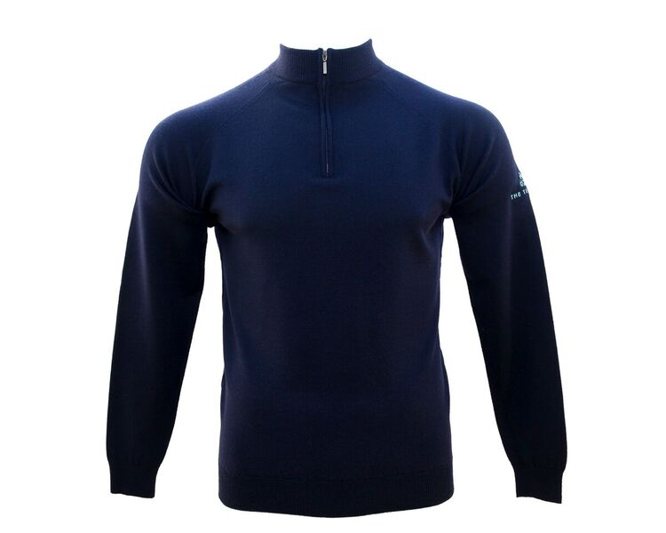 Ladies Merino Zip L/S Navy Knitware