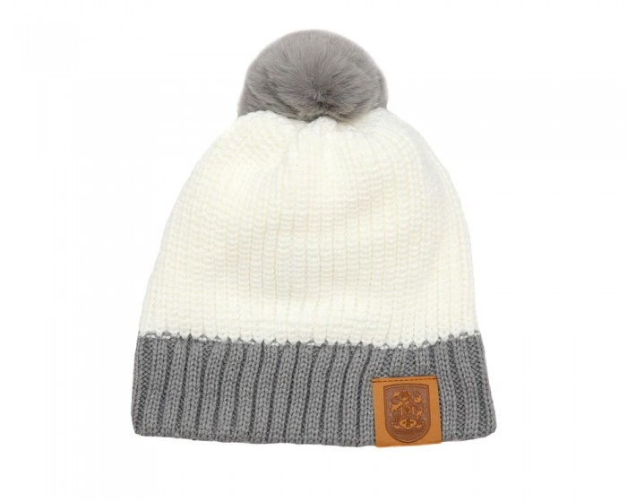 Cream and Grey Pom Pom Beanie